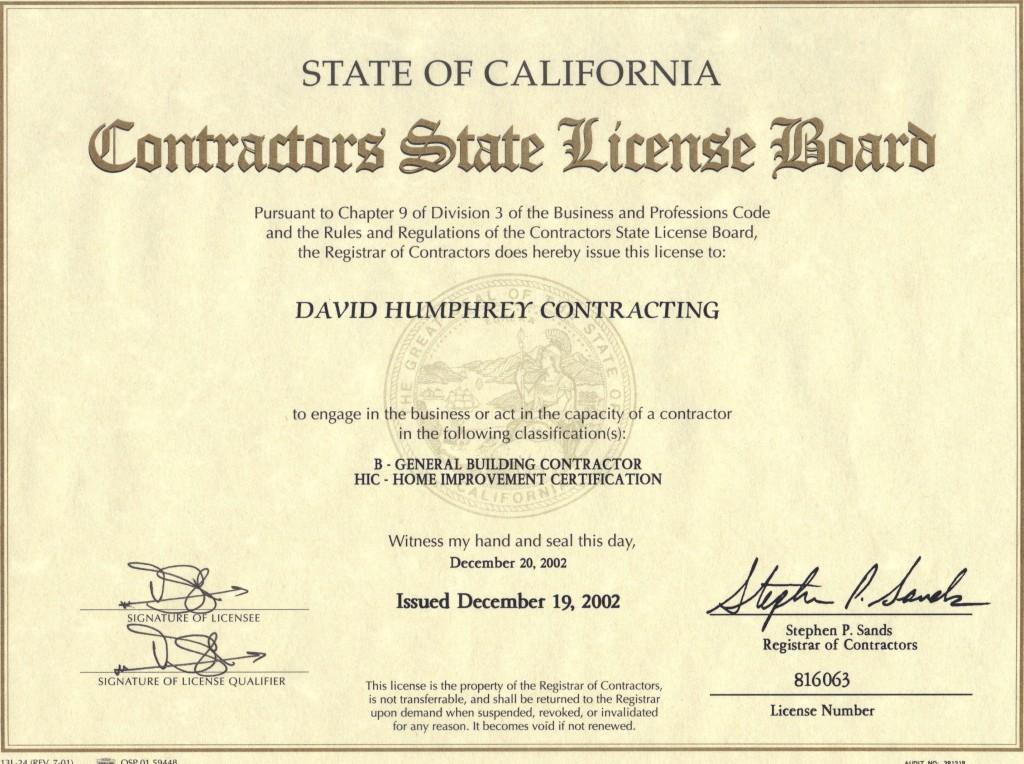 Contracting Certificate